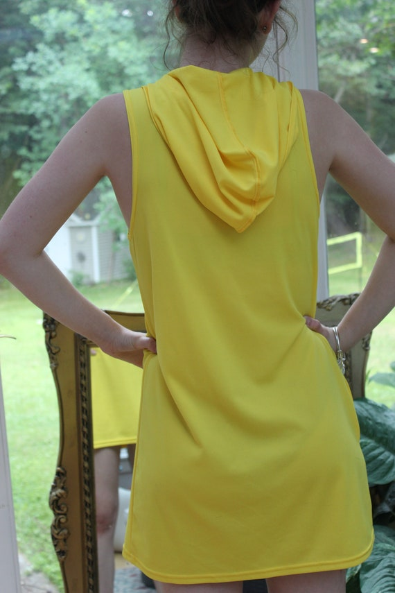 Vintage Yellow Hoodie Dress, 1960's Bright Yellow… - image 4