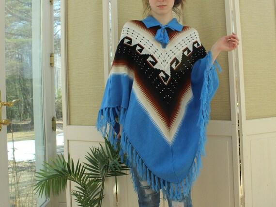 Vintage 1970's Navajo Poncho, Vintage Aztec Unisex