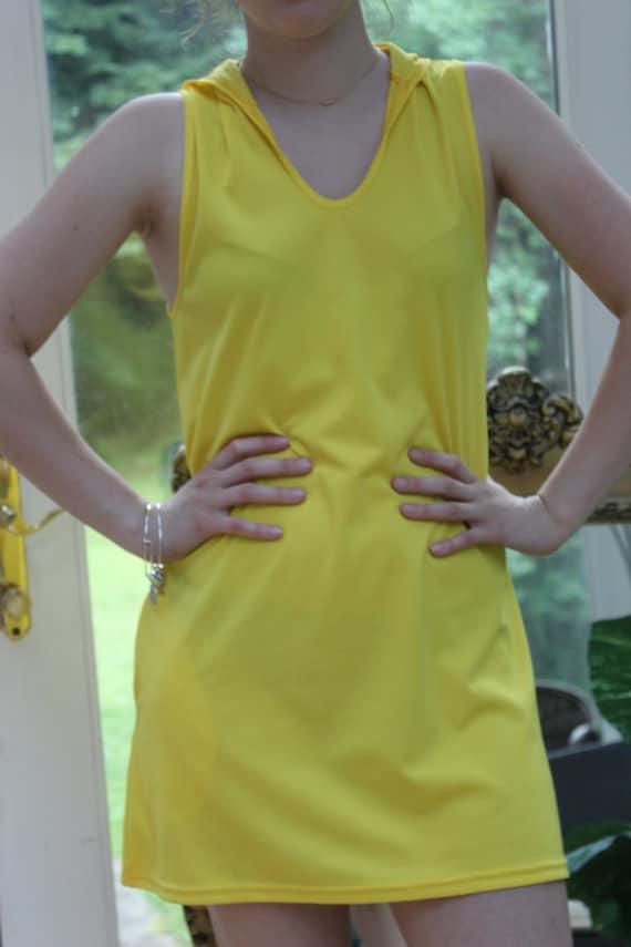 Vintage Yellow Hoodie Dress, 1960's Bright Yellow… - image 3
