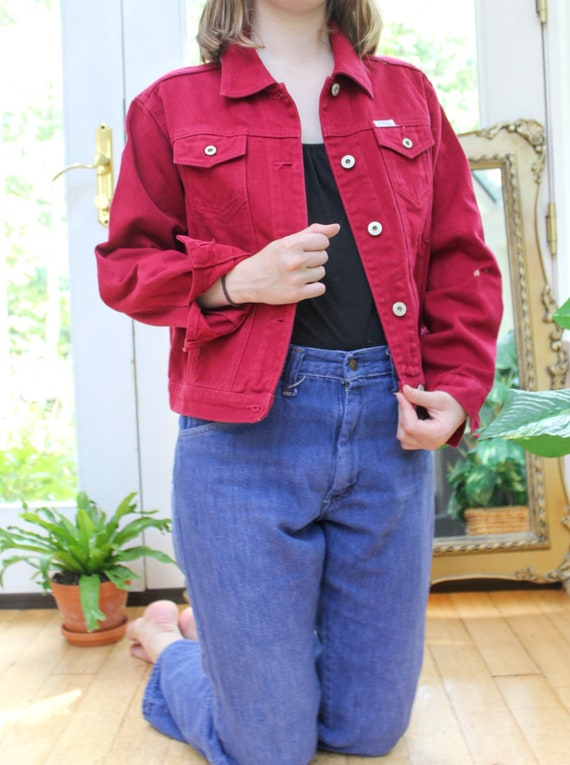 Vintage Guess Denim Jacket Maroon Guess Jacket Women S Etsy