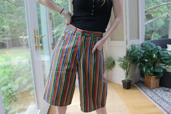 Vintage 1990's Rainbow Striped Shorts, 90's Women'