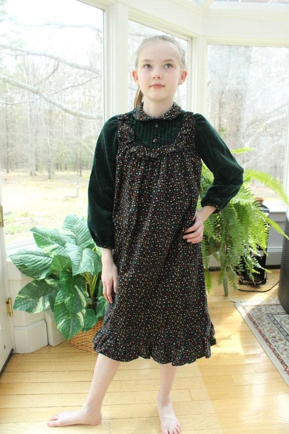 Vintage 1970's Little Girl's Velvet Dress, Vintage