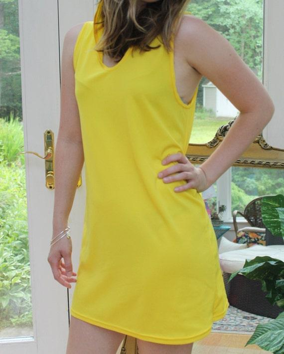 Vintage Yellow Hoodie Dress, 1960's Bright Yellow… - image 5
