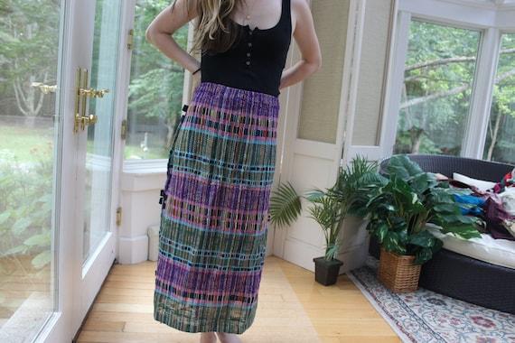 Vintage 1970's Quilted Embroidered Skirt, Vintage
