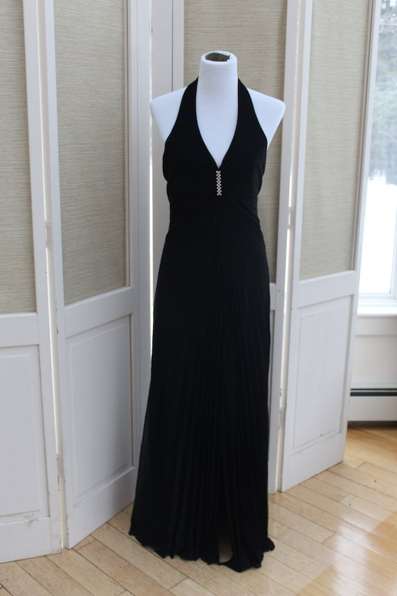 Vintage Black Prom Dress, Vintage Halter Dress, Lo