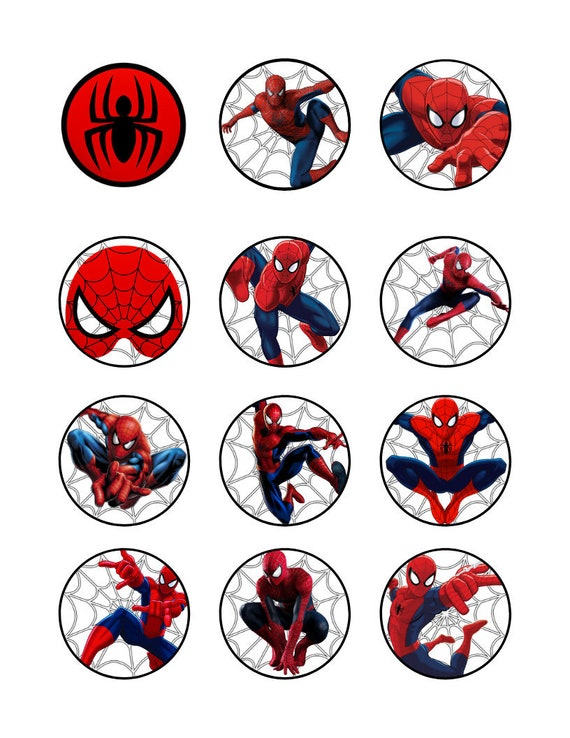 Strange Spiderman Cupcake Toppers Spiderman Cupcake Toppers Etsy Funny Birthday Cards Online Unhofree Goldxyz