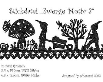 Embroidery file Shear Cut: Dwarfs, motif 3