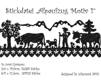 "Embroidery file Shear Cut: ""Alpaufzug, motif 1"
