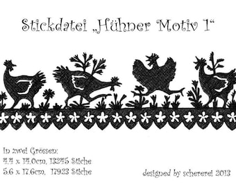 Embroidery file shear Cut: chickens, motif 1