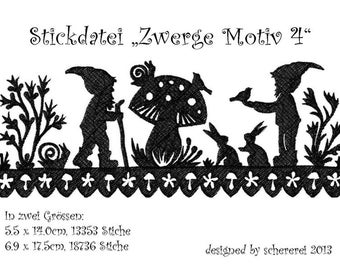 Embroidery file Shear Cut: Dwarfs, motif 4