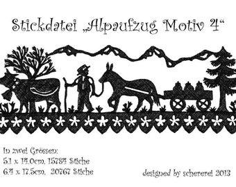 "Embroidery file Shear Cut: ""Alpaufzug, motif 4"