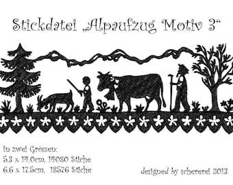 "Embroidery file Shear Cut: ""Alpaufzug, motif 3"