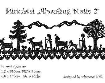 "Embroidery file Shear Cut: ""Alpaufzug, motif 2"