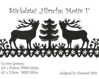 Embroidery file Scissors Cut: deer, motif 1