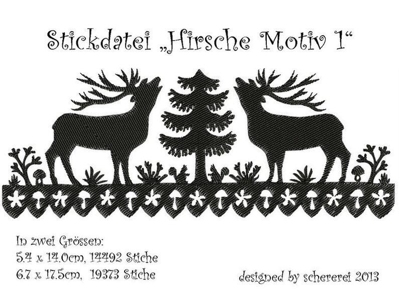 Embroidery file Scissors Cut: deer motif 1 image 0