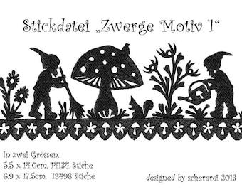 Embroidery file Shear Cut: dwarfs, motif 1
