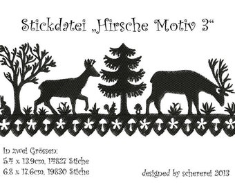 Embroidery file Shear Cut: deer, motif 3