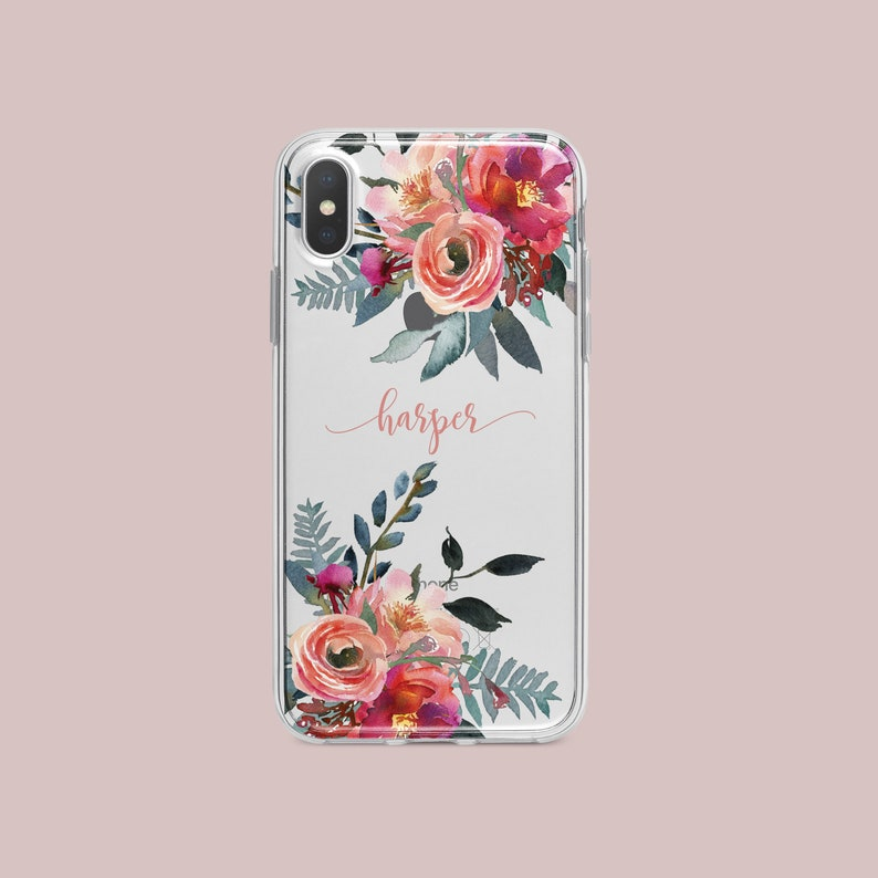 new product a2118 83ef4 Floral, clear, personalised phone case iPhone X case, iPhone XS Case,  iPhone XS Max case, iPhone XR case, iPhone 7 case, iPhone 8 case