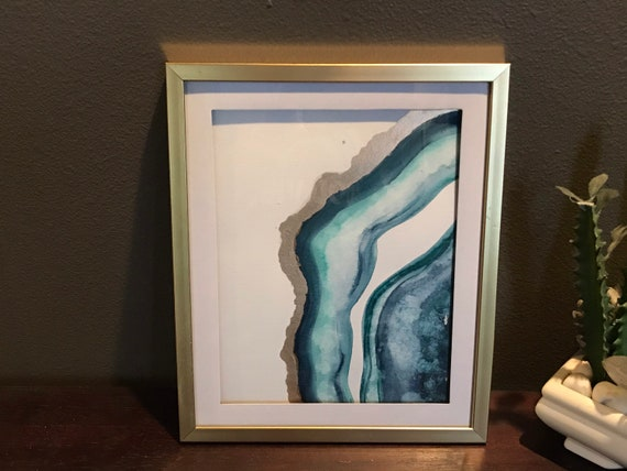 8x10 matted Gold 10x12 framed Agate themed art in Payne's grey and Viridian with gold accent