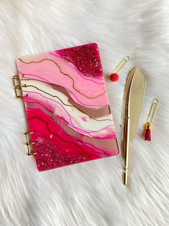 Unique resin art agate slice theme FILLED planner with gold feather pen & badge reel in Barbie pinks and gold - MATCHING bonus dot stickers