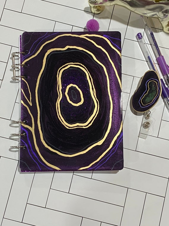 Unique resin art agate slice theme FILLED planner with matching badge reel in midnight purple and gold - MATCHING bonus hand gilded stickers