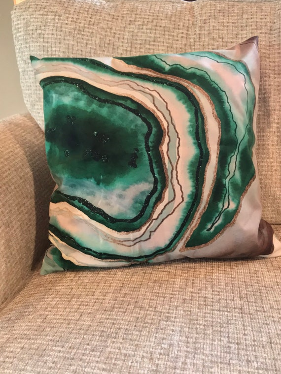20x20 original art agate theme slice velvet touch pillow case- no fill