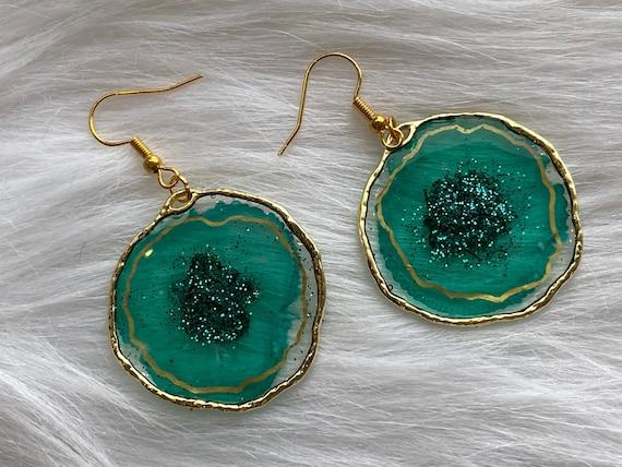 Teal Agate slice inspired resin earrings in plated 14k gold nickel free : 1inch open back bezel on hook