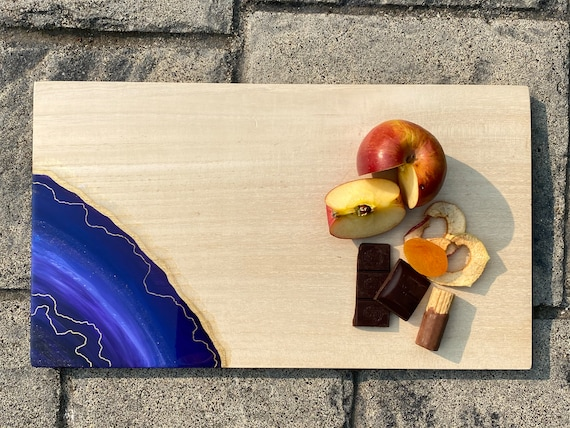Large amethyst and lilac with glitter accent resin cheese/cutting board 16.5x9.25 white pine 3/4 inch thick hand sanded and finished