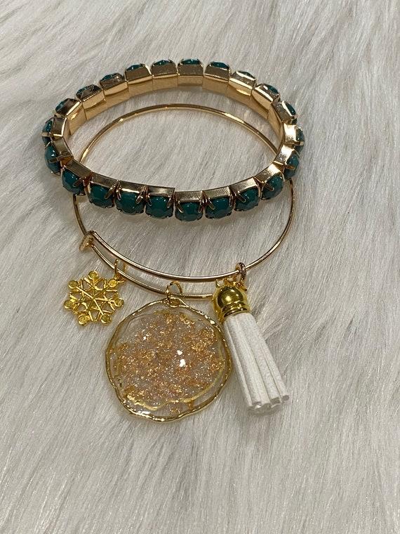 Gold and shimmer druzy center Agate themed resin wearable art bracelet with coordinating charm & tassel BONUS matching bracelet included
