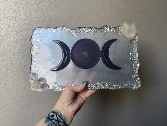 Silver and purple moon phase resin tray with crystal accents 13x8 tarot divination alter desk vanity bar cheese tray with resin crystals