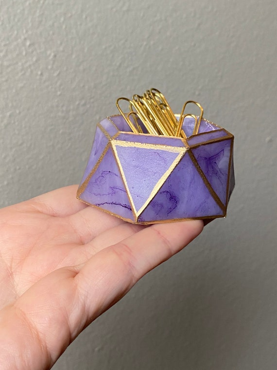 Amethyst purple and white marble resin desk vanity trinket storage dish with hand painted gold trim and gold started paperclips