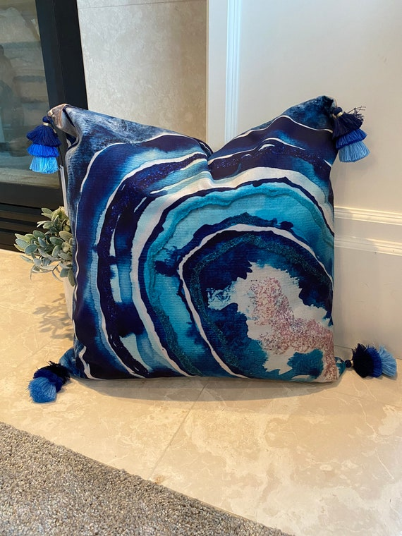 20x20 original blue,navy,teal, and glitter original watercolor painting agate theme slice velvet touch pillowCASE with 3in tricolor tassel