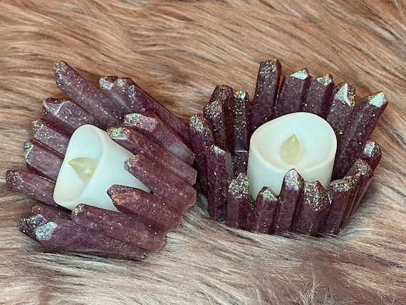 Lavender mica resin crystal tea light holder pair 2.3 x 2.8 inches with holographic fleck glitter accent