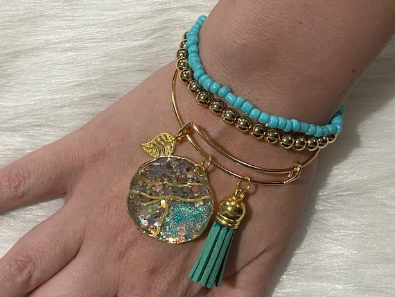 Teal/ holographic Glitter Agate themed resin wearable art bracelet with coordinating charm & tassel BONUS matching beaded bracelets included
