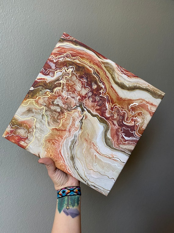 12 x 12 gallery wrapped canvas print of original resin art in maroon, antique gold, Champaign & pink  gold detailed and hand line accents