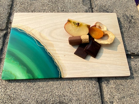 Hand painted monochromatic green, hunter, pine, & teal agate with glitter accent resin cheese/cutting board 12x7.5 white pine
