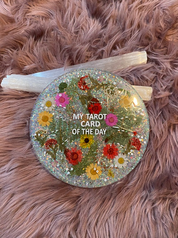 8.5in round resin Tarot Card of the Day divination tray felt backed with rose gold holographic fleck glitter and pressed flowers 3/4in thick