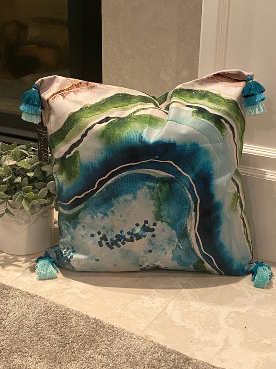20x20 original blue, green, and glitter original watercolor painting agate theme slice velvet touch pillowCASE with 3in tricolor tassel
