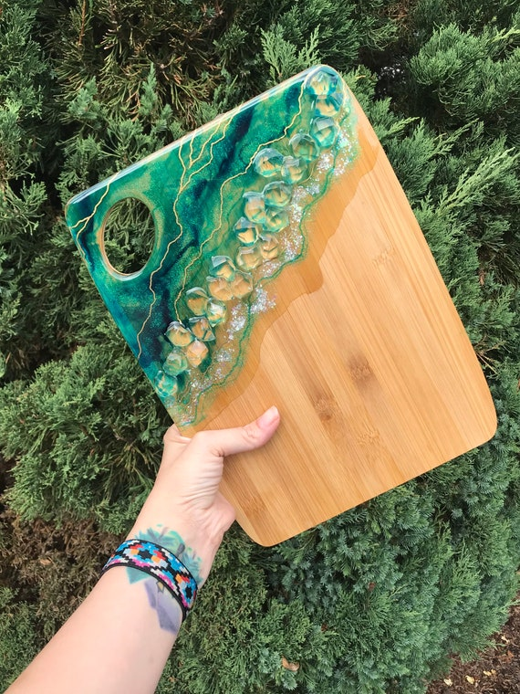 Hand poured resin bamboo cheese/cutting board 12x9 in teal with gold detail
