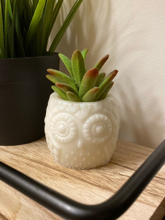 Adorable owl planter 2.5x3 inches made of cast white resin with chunky holographic glitter accent