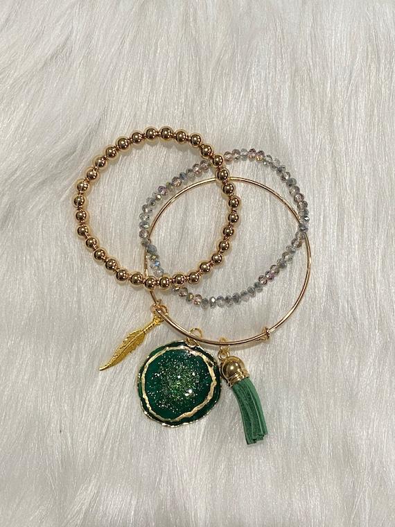 Deep green druzy center Agate themed resin wearable art bracelet with coordinating charm & tassel BONUS matching beaded bracelets included