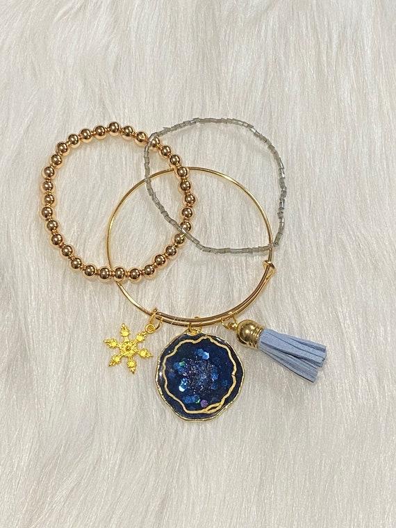 Navy glitter with druzy center gold tone Agate themed resin wearable art bracelet with coordinating charm & tassel BONUS bracelets included