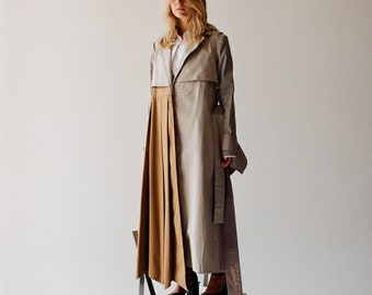 79a9818e2186 Trench coat Women s cotton alternative reconstructed trench coat  Multicolored trench with shades of Beige Light Gray Brown