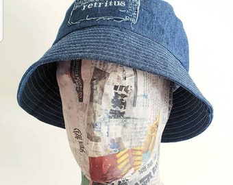 817cdf39dd1e2 Lined denim bucket hat with stash pocket