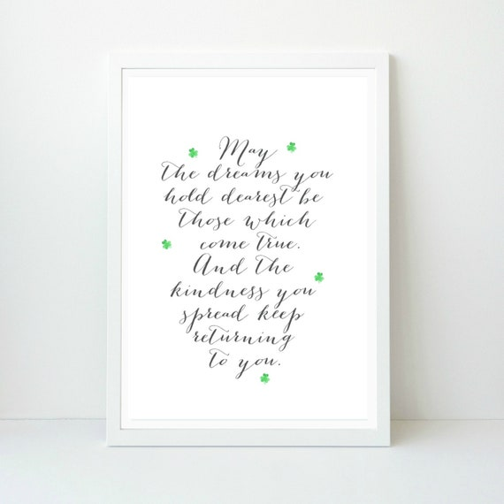 graphic regarding Printable Irish Blessing titled Irish Blessing with Shamrock Printable Wall Artwork, Irish Dwelling decor, Irish Blessing Artwork, Fast Obtain