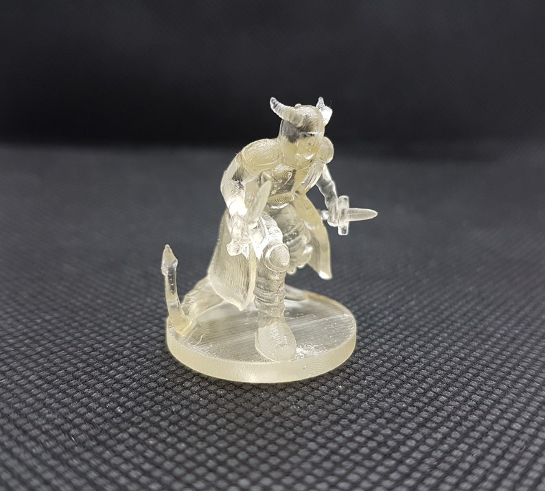 Dungeons & Dragons Tiefling Rogue 3D printed in a high quality resin that  is excellent for printing gaming miniatures, 3d custom printing,