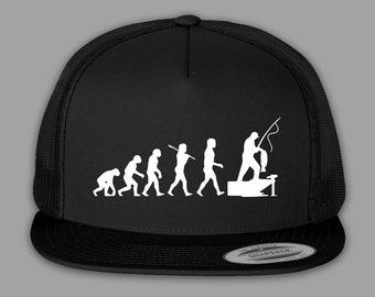 afb47c34ce1 Funny Fishing Hat   Fish Evolution Hat - Flat Bill Trucker Mesh Snapback Cap