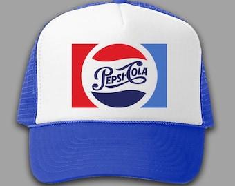 5559f51dd4d Pepsi Cola Soda Pop Trucker Hat Vintage 80 s Style Mesh Back Snapback Cap -  B R