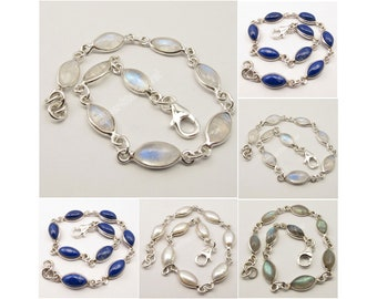 """925 Sterling Silver RAINBOW MOONSTONE GEMSET Necklace 16.8/"""" 9.6 Grams"""