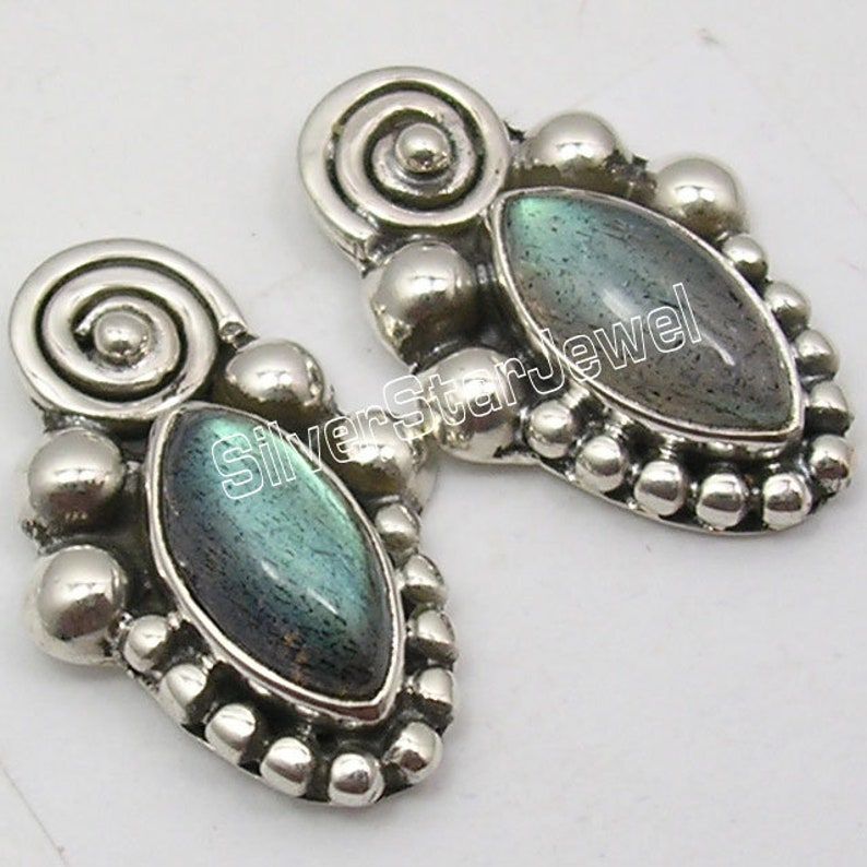 Hot Selling Solid Silver Pendant Earrings Matching Set Natural Labradorite Gemstone Decorative Jewelry Handcrafted Nouveau 925 Stamp Bijoux